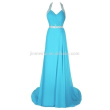 Cheap Party Gowns Formal Occasions 2016 A-line Halter Pleats Evening Dress Long Backless Crystals Prom Vestido De Festa Longo