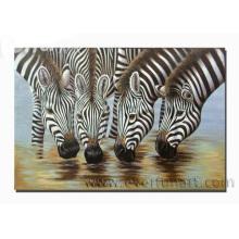 Handgemachtes Zebra-Ölgemälde Trinkwasser