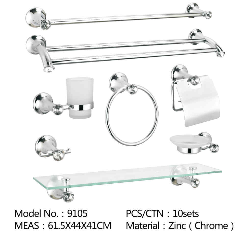 Wall Mounted Zinc Chromed Bathroom Accessory Sets For Paper Holder Towel Bar Robe Hook Glass Shelf Soap Holder Toothbrush And Toilet Brush