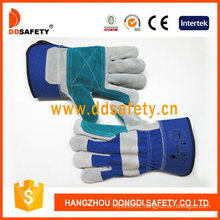 Double Leather Wholesale Cotton Back Pipe Fitting Working Gloves