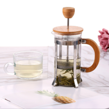 French Press With Bamboo Cover Glass Coffee Pot