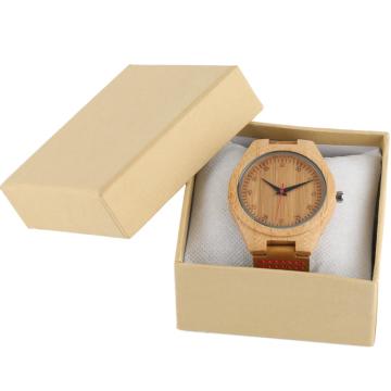 Hellgelbe Uhrenvitrine aus Papierbox