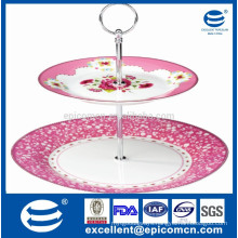 """2pcs cake stand with 10.5"""" ceramic plate and 7.5"""" dessert plate wedding cake stand"""