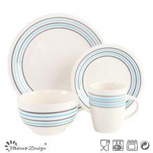 16PCS Cena Set Iwth Simple Strips diseño de color crema