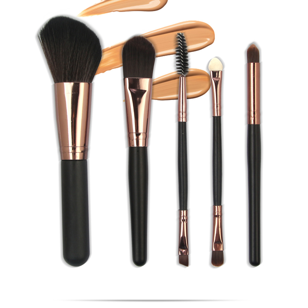 5 Pcs Wood Makeup Brushes Set display2-2