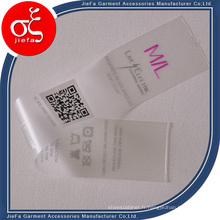 Prix d'usine personnalisé TPU imprimé étiquette de vêtements / étiquette de lavage