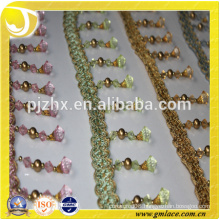 plastic beaded Fringe for dresses and home decoration