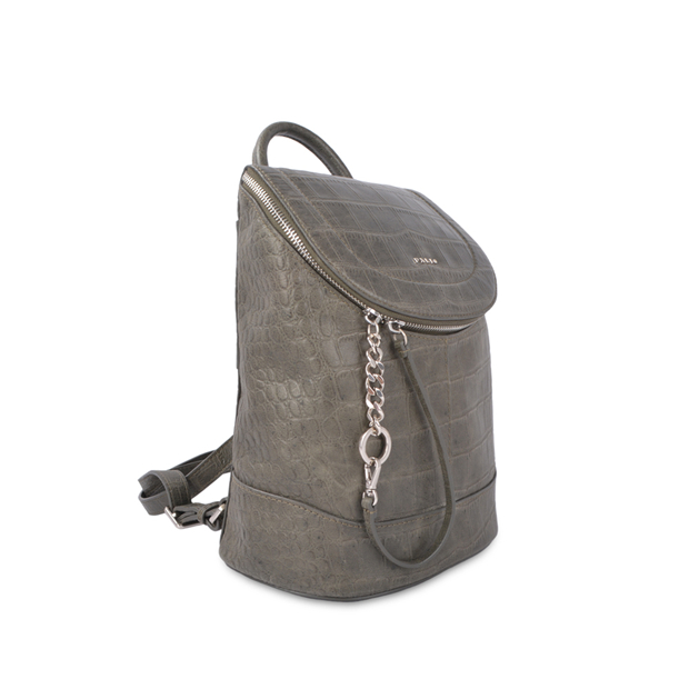 top quality metal logo full grain leather backpack with bottom compartment