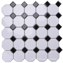 Dining Hall Wall Decoration Black and White Octagon Mosaic Tile