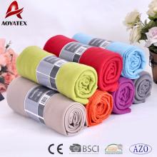 Promotion bas prix personnalisé taille solide couleur softextile polaire couverture
