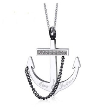 Fashion anchor diamond  stainless steel necklace pendant