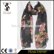 Nuevo hijab del resorte de la bufanda del patrón de flor del estilo 100%