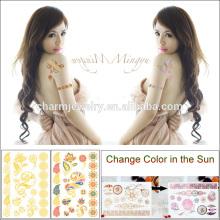 Dernier autocollant de tatouage pour la peau pour le corps Changement de couleur dans le soleil Tatouage jetable BS-8033