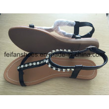 Flat Women Casual Sandals with Jewel, Customized Lady Slip-on Shoes