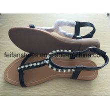 Плоские женщин свободного покроя сандалии с Jewel, Подгоняно дамы скольжения на обувь