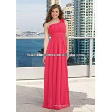 HB2117 Rose obliqued shoulder neck gathered chiffon topw A-line floor length long one shoulder flower strap bridesmaid dress