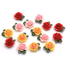 Cores sortidas 24 MM Resina Rose Flor Cabochão Flatback Rose Cabs de Flores Flor Slime Beads Jewelry Making Findings