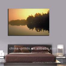 Salida del sol moderna sobre el lienzo de la lona del lago, marco de la pintura para la decoración casera