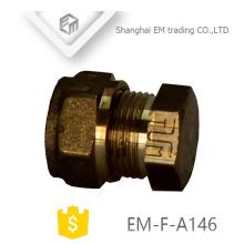 EM-F-A146 encaixe de tubulação do plugue de rosca macho de bronze com porca sextavada