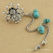 Brazalete de oído de cristal de araña tan lindo individual clip de oreja de aleación de cosecha con joyería de pendiente de turquesa para mujer EC25