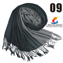 Lingshang wire pure wool women solid color scarf plain scarf cape high quality wool shawl scarf