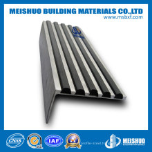 Anodized Aluminum Slip-Resistant PVC Insert Bullnose Stair Nosing for Safety