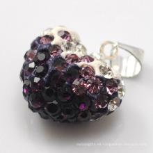 Colgante cristalino multicolor de la arcilla de la llegada 15MM del corazón de Shamballa del corazón de Shamballa de la forma del corazón al por mayor de la arcilla para la joyería de DIY
