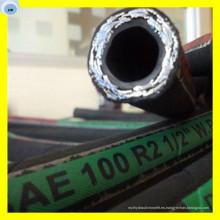 Manguera de goma del aceite hidráulico de la trenza del alambre de acero Manguera estándar de SAE R16