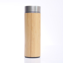 Personalized Double Wall Nature Bamboo Stainless Steel infuser Vacuum Bottle