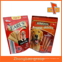 High quality and custom printing stand up zipper dog food pouch for dog sausages or snack