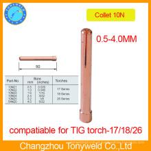 Copper tig soldagem tocha peças collet 10N serise