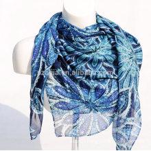 Fashion floral print square ladies voile scarf