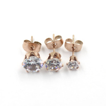 Fashionable Rose Gold Plated CZ Diamond Stud Jewelry Earrings