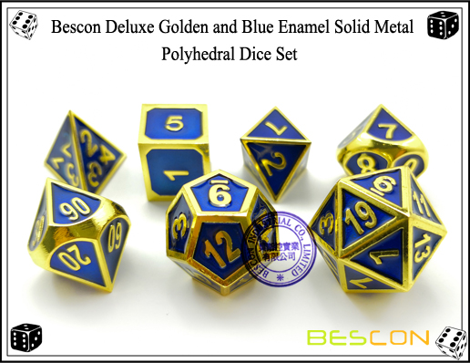 Bescon Deluxe Golden and Blue Enamel Solid Metal Polyhedral Role Playing RPG Game Dice Set (7 Die in Pack)-5