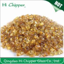 Chips de vidrio ámbar oscuro triturado