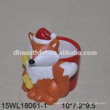 Lovely fox diseñado flor de cerámica pot