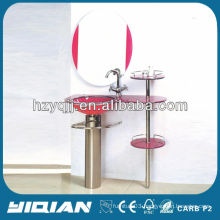 Modern Red Glass Cabinet Stainess Steel Bracket for Countertop With Mirror Glass Bathroom Vanity