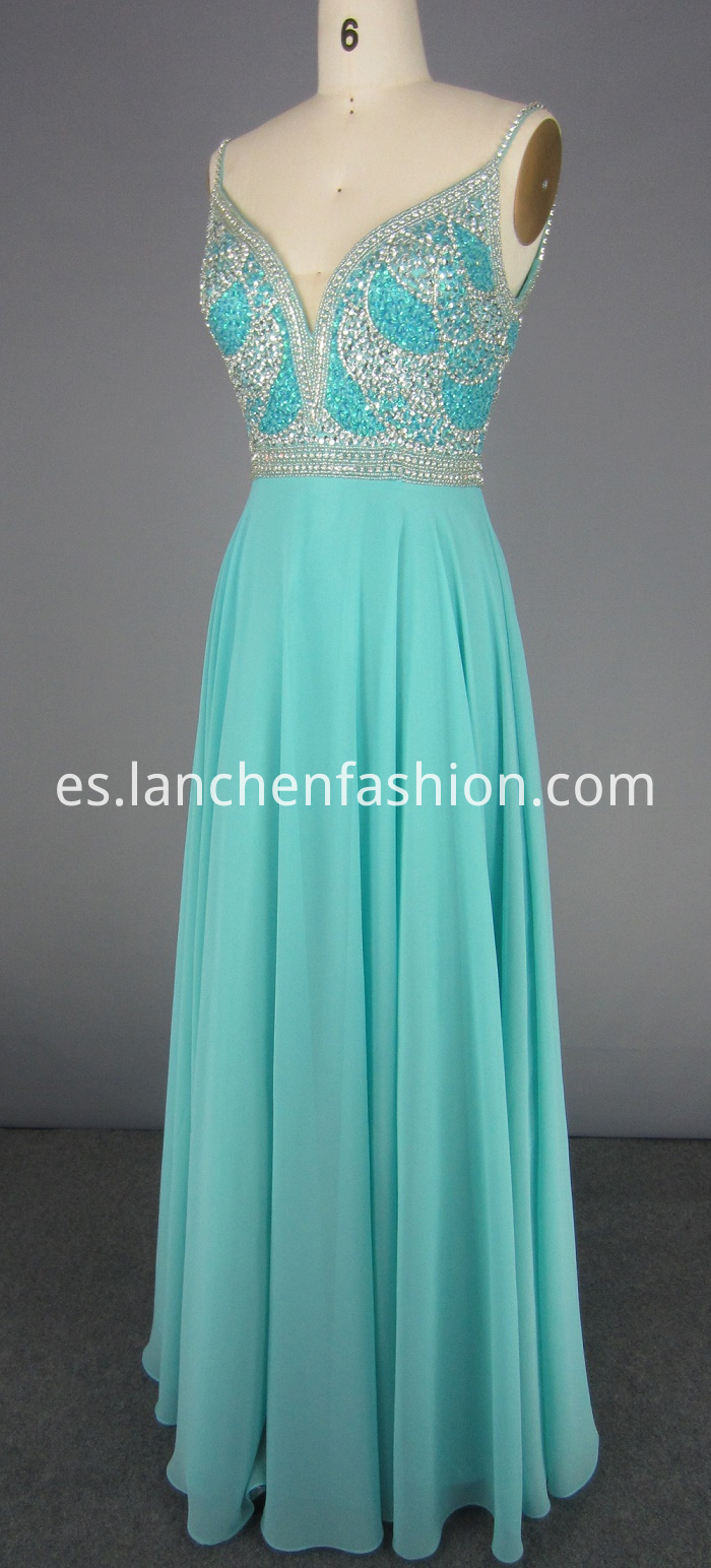 V Neck Sequin Prom Dress