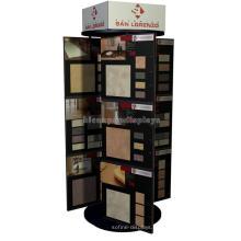 Einfache Metall Rotaing Dekoration Stein Showroom Gewerbe Boden Standing Marmor Fliesen Display Regal