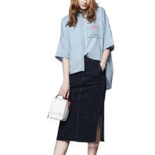 Spring Fashion Plain 3/4 Sleeve Women′s Shirt