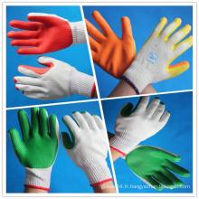 Gants en coton revêtus de caoutchouc / Gants de travail tricotés en coton blanc blanchi à la main 10gauge enduits de palmier en caoutchouc