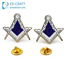 Manufacturer china personalized custom logo metal zinc alloy enamel gold plated masonic freemason lapel pin badge