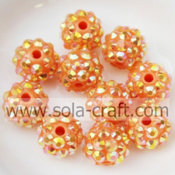 10 * 12MM Resin Strass Perlen Anhänger Charm Armband Orange AB Farbe