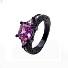 Neueste Bulk Custom Black Gold Zirkon Kupfer Ring für Frauen