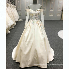 Women Rose Gold Evening Dresses 2018 Long Gown Bead A line Prom Dress Off Shoulder Ladies Party Wear Gowns with Sleeves