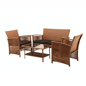 4 pc Rattan Outdoor Poly Rattan Furniture