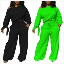 C7227 Girl Wide Leg Pants Women Off Shoulder Top Lacing Blouses Winter 2 Piece Workout Clothing For Women Jogger Set
