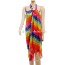 Moda señoras impresas arco iris poliéster pareo pareo