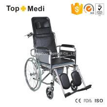 Topmedi Hand-Toilettenrollstuhl aus Stahl mit hoher Rückenlehne und verstellbarer Rückenlehne