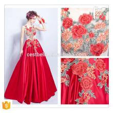 Hot Saller !!! Chic Long Red Floral elegante festa vestido de baile Mulheres atacado formal vermelho vestido de noite longo 2016